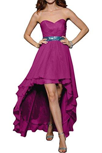 ivyd ressing Femme Fashion forme de cœur pierres robe robe ceinture HI-LO Party Prom Lave-vaisselle robe robe du soir Fuchsia