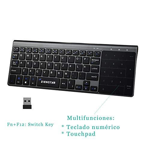 e74b4a4b571 Imagen de zienstar 2.4ghz mini teclado con touchpad y teclado numérico,  receptor usb para ...