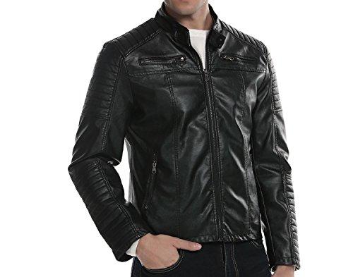 Coofandy Blouson Cuir Homme Moto Motard Hiver Casual Noir Taille L