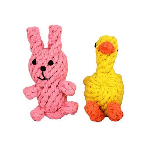 Morza 2ST / Set Haustiere Chew Seil Spielzeug Ersatz für kleine bis mittlere Pet Cartoon Beißring ungiftige Zähne Molar Spielzeug -