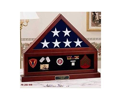 TANGGOOD Flag Vitrine Shadow Box, Fahne Medal Pedestal -