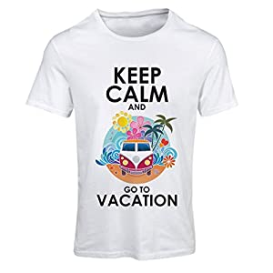 agencia de paginas web: lepni.me N4442F Camiseta Mujer Keep Calm and Go to Vacation (X-Large Blanco