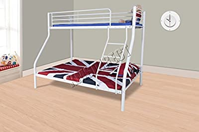 FoxHunter New White Metal Triple Children Sleeper Bunk Bed Frame No Mattress Double Bed Base Single On Top