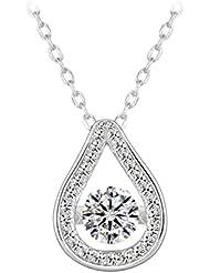 Le Premium® 925Plata de ley Mantener gotas de agua bailar de diamante colgante collar con colgante Craft fijo AAA Crystal Clear Zircon
