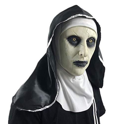 Wongfon Halloween Maske Female Ghost Headgear Nonne Horror Maske Kostüm Latex Maske mit Kopftuch