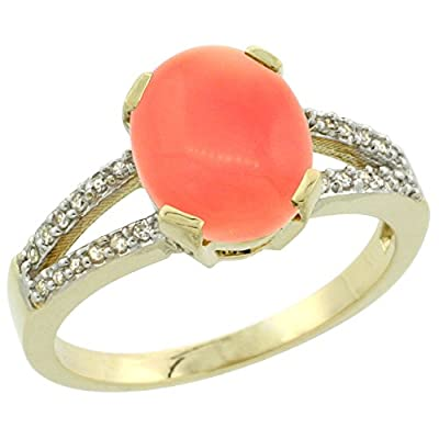 9ct Yellow Gold Diamond Halo Natural Coral Ring Oval 10x8mm, sizes J - T