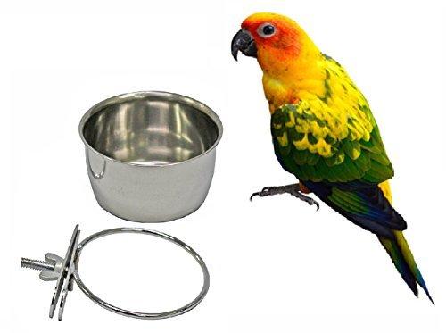 Jaula para pájaros con perchas de acero inoxidable con soporte de abrazadera, cuenco para pájaros y platos de agua y comederos de 10 onzas