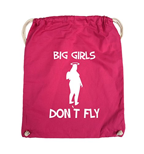 Comedy Bags - BIG GIRLS DON'T FLY - Turnbeutel - 37x46cm - Farbe: Schwarz / Silber Pink / Weiss