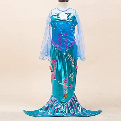 Sexy Meerjungfrau Kleine Kostüm - NiQiShangMao Neue Mädchen Meerjungfrau Kleider mit Perle Kinder Halloween Kleine Meerjungfrau Cosplay Kostüme für Kinder Karneval Party Kleid