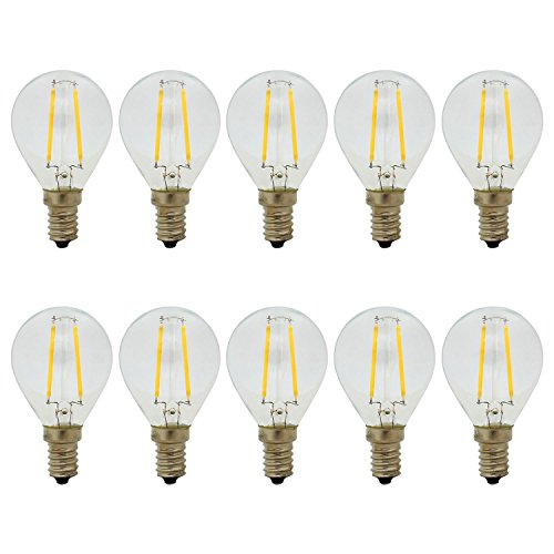 10er, E14 2W LED Filament Glühfaden Birne Edison Glühbirne G45 Mini Globe Lampe, Warmweiß 2700K, 150LM, Nicht Dimmbar, Ersatz für 15W Glühlampen (Globe-lampen-ersatz-birnen)