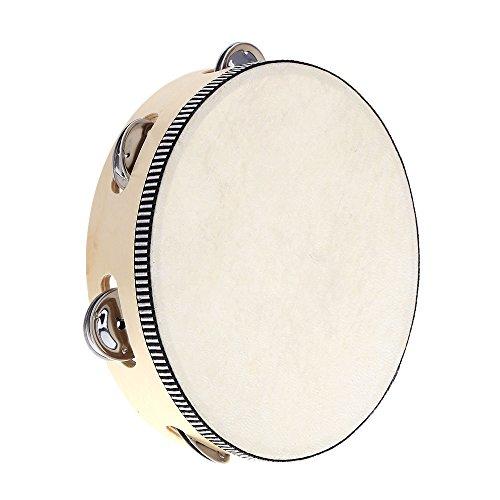 Kentop Kinder 8 Zoll Tamburin Musical Tambourine Runde Percussion Geschenk für KTV Party Kinderspiele (Weiß)