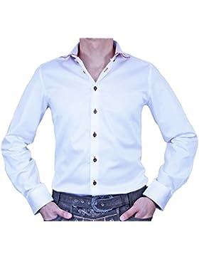 Maddox Slim Fit Trachtenhemd Markus - Weiß Rot - Herrenhemd Oberhemd zur Lederhose