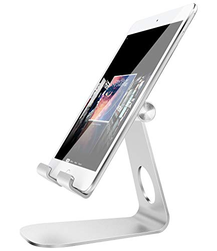 niversal 210 Degree Multi-Angle Rotatable Smartphone Tablet Desktop Cradle Holder fit with New iPad Air 3, iPad Mini 5, iPad Pro 10.5/9.7, iPhone X/8/8 Plus, Galaxy S10, Silver ()