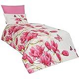 3 tlg. Renforce Baumwolle Bettwäsche 135x200 cm Alize Pink