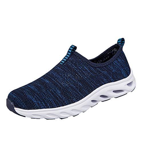 Fenverk Herren Damen Laufschuhe Atmungsaktiv Turnschuhe SchnüRer Sportschuhe Sneaker Fitness Leicht rutschfeste(Dark Blue,42 EU)