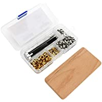 fuxton Ösen Werkzeug Kit + 8 mm Ösen (50 STK), Locheisen & Einschlagstempel + Holzunterlage in Lagerbox. Für Leder, Stoff, Planen, Papier, Vorhang, Gardinen
