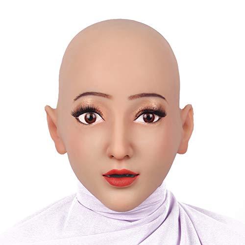 HSNC Crossdresser Weiche Silikon Realistische Weibliche Kopf Maske Handgemachte Make-Up Maske Cosplay Maske Transgender Halloween Maske