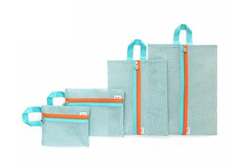 FakeFace 4er-Set Verdickter Netz Reisegepäck Wäsche Organizer Aufbewahrungstasche Gepäcktaschen Set Kleidertasche Kosmetiktasche Beautycase Koffertaschen für Angenehme Reise (Grün)
