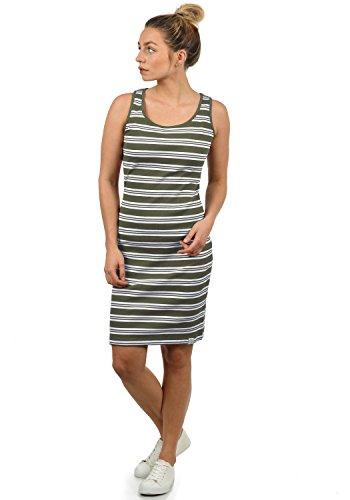 Kleid Sommerkleid Dress in Streifen-Optik mit Rundhals-Ausschnitt aus 100% Baumwolle, Größe:XS, Farbe:Dusty Olive (3784) (Bis Kleider)