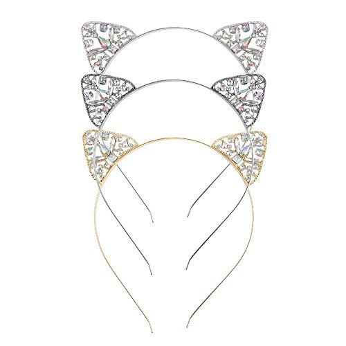 Weddwith testa accessori lega di moda copricapi di diamanti fascia per capelli con orecchie di gatto a colori ab accessori per il divertimento di halloween