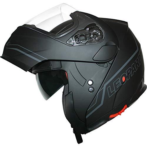 Leopard LEO-838 Safari Fullface Helm Klapphelm Jethelme Motorrad Roller mit Doppelvisier Motorradhelm Damen und Herren Integralhelm ECE Genehmigt Matt Schwarz/Silber M (57-58cm)