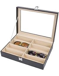 Meshela Gafas de sol de cuero de la PU Gafas Gafas Caja de exhibición Organizador de almacenamiento (8 cuadrículas)