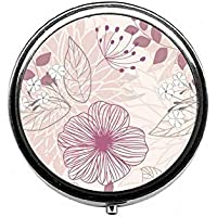 LinJxLee pink Flower Portable Round Pill Case Pill Box Medicine Box Medicine Tablet Vitamin Organizer for Purse... preisvergleich bei billige-tabletten.eu