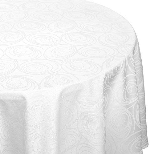 Nappe ovale 180x300 cm Jacquard 100% coton SPIRALE blanc