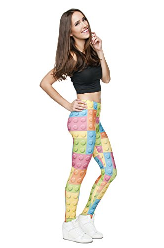 Femmes Mesdames Leggings Longueur complet extensible Collants Pantalon pour ne pas voir à travers Fitness Yoga Running Hipster UK 8 10 12 Multicolore - LEGO