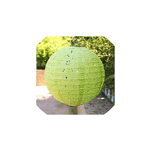 Papierlaterne 10''25Cm aushöhlen Papier Ballon Runde Papierlaterne Kugel für Festival Dekoration-Partei-Bevorzugung, Grün, 12Inch 30Cm Hohl