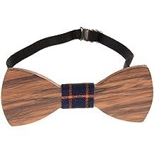 Corbata de madera hueca para hombre, ajustable, hecha a mano, para bodas, bailes y fiestas, con caja
