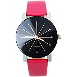 WINWINTOM 1PC Women Quartz Dial Clock Leather Wrist Watch Round Case-Hot Pink