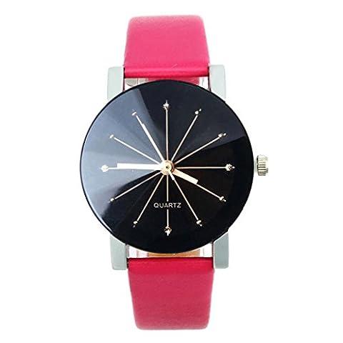 WINWINTOM 1PC Women Quartz Dial Clock Leather Wrist Watch Round Case-Hot Pink