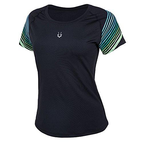 2017 Vansydical Femmes Running Yoga T-Shirts à manches courtes Base Layer Workout Bodybuilding respirant Sportswear Top (FBF70202, XL)