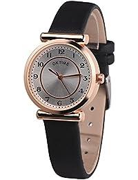 Reloj de pulsera de cuarzo para mujer, KanLin1986 Reloj de pulsera retro para mujer de diseño de reloj de pulsera de cuarzo analógico de aleación de reloj casual para mujer (Negro)