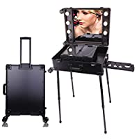 Panana Portable Beauty Cosmetic Organizer Box 64 x 44 x 22cm with 6 Bulbs Lights,Adjustable Legs Trolley Artist Rolling Studio Makeup Case Table Station Black