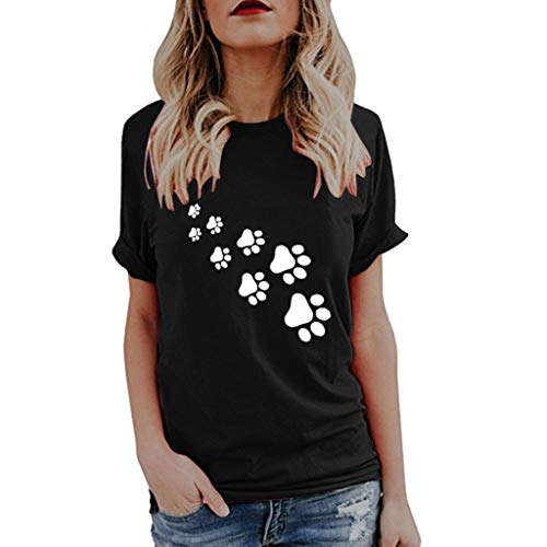 OSYARD Damen Kurzarm T-Shirt Mädchen Niedlich Drucken Tops Rundhalsausschnitt Casual Sommer Lose Shirt Tunika Oversize Oberteile Tee Sweatshirts Blusen