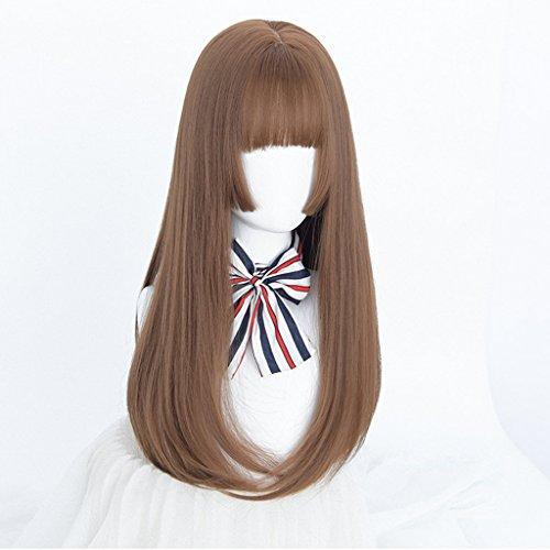 Chang Xiang Ya Shop Perruques aux Cheveux Droits de Couleur de Lin des Femmes Perruques aux Cheveux Longs Douces de Mode Perruques réalistes Longues Droites de Cheveux