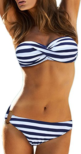 EUDOLAH Damen Bandeau Padded Bikini-Set Trägerlosen Badeanzug Push Up (L, A-Blaue Streifen) -