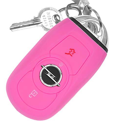 Auto Schlüssel Hülle Silikon Schutz Cover Rosa kompatibel mit Opel Astra K Insignia B Corsa E Zafira GTC Mokka X