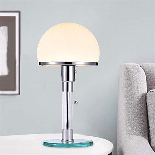 Diseñador de luz LED de mesa Wilhelm Wagenfeld Bauhau Lámparas de mesa Luces de escritorio Dormitorio Estudio Lustres de noche Lámparas de vidrio LED Accesorios, una base de vidrio