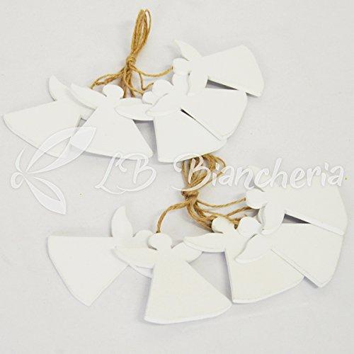 Set 40 pezzi addobbi natale in legno per albero di natale e decorazioni - angioletti bianchi