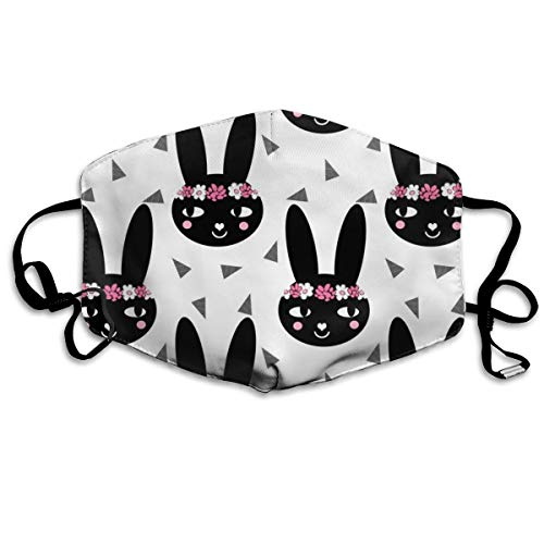 Black and White Flower Crown Bunny Girls Nursery Cute Baby Sweet Flowers Anti-dust Cotton Mouth Face Masks Reusable for Outdoor Half Face Masks