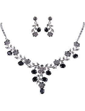 EVER FAITH® Hochzeit Blatt Vine Halskette Ohrringe Set klar österreichische Kristall schwarz-silber-Ton