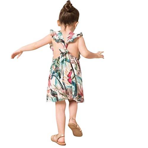 Livoral Mommy & Me Kind des Mädchens Sleeveless V-Ausschnitt Blumendrucken Familie Kleidung Kleid(Grün(Baby),80)