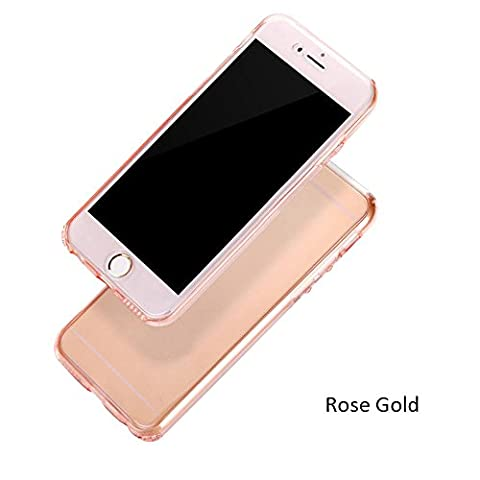 Shockproof TPU Clear Case Coque pour Apple iPhone 5G 5S SE - Yihya Ultra Slim Soft Gel Silicone TPU 360°Protective Housse Etui Couvertures Avant et Arrière Transparent Cover--Or Rose