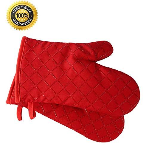 Premium antideslizante guantes de horno Juego de 2 hasta 240 °C - Silicona Extremadamente Resistente...