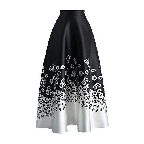Uranus Damen Blume Drucken Farbblock Hohe Taille A-Linie Swing Maxi Rock Kleid (Mit Der Rückseite-print-rock An Reißverschluss)