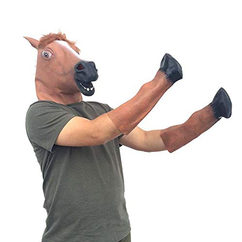 funnyfeng Masken für Erwachsene, Halloween, Maskerade, Ball, Männer, Pferdekopf, aus Latex, mit Maske