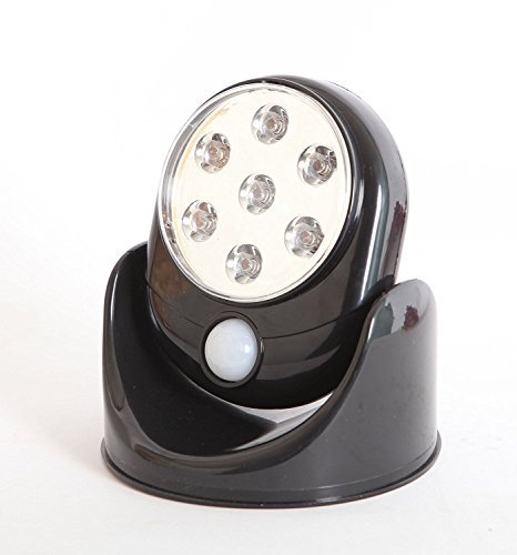 WedDecor Bewegungsmelder 360° Infrarot Sensor LED Lichter Innen Außen Garten Terrasse Wand Schuppen Auto-Sensing Pfad Akku-Lampe - Weiß - Schwarz, 1pc